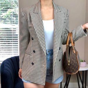 Vintage Oversized Houndstooth Wool Blazer
